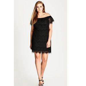City Chic Black Lace Off-Shoulder Shift Dress